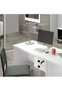 Mesa Para Escritório 2 Gavetas Com Chave Eco Siena Móveis Branco