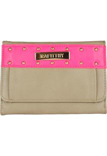 Carteira Clutch Rafitthy 2241408 Taupe Com Pink