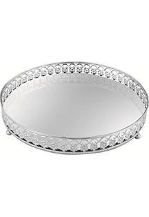 Bandeja Em Metal Com Espelho, Moas, Prata, 6536