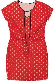 Vestido Curto Estampado Vermelho
