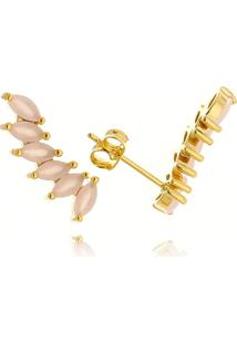 Brinco Ear Cuff Lua Mia Joias Clássico 6 Navetes Rosas Banho Ouro