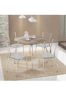 Mesa 1504 Nogueira Cromada Com 4 Cadeiras 1700 Fantasia Branco Carraro