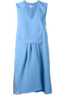 Carven Vestido Com Pregas - Azul