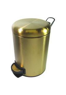 Lixeira Dourada Em Aço Inox Fosca Para Banheiro Com Pedal 5L - By Fineza