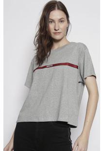 Camiseta Mescla Com Bordado - Cinza & Vermelhalevis