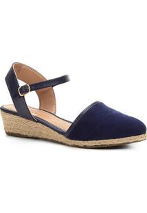 Sandália Anabela Shoestock Espadrille Linho Feminina - Feminino-Azul