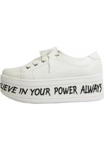 Tênis Damannu Shoes Flatform Power Feminino - Feminino-Branco