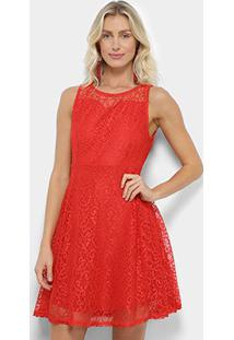 Vestido Pérola Evasê Rendado - Feminino-Vermelho