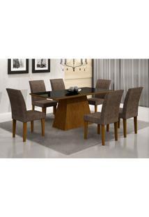 Conjunto De Mesa Luna Ii 180 Cm Com 6 Cadeiras Grecia Suede Amassado Imbuia E Chocolate
