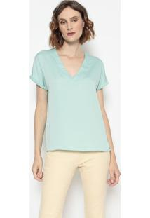 Blusa Lisa Com Vazado- Verde ÁGua- Wool Linewool Line