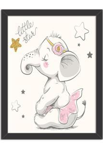 Quadro Decorativo Infantil Elefantinha Bailarina Preto - Médio