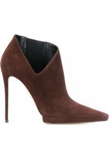 Casadei Ankle Boot Com Detalhe De Recorte Vazado - Marrom