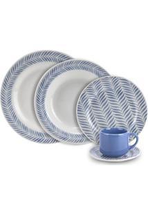 Aparelho De Jantar Biona Le Folhas Azuis Com 20 Peças