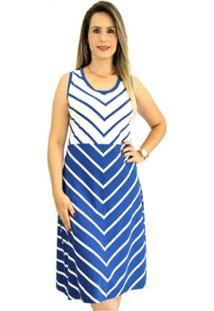 Vestido Pau A Pique Listrado Feminino - Feminino-Azul