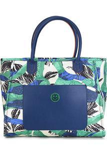 Bolsa Colcci Shopping Bag Lona Estampada Feminina - Feminino-Verde+Azul
