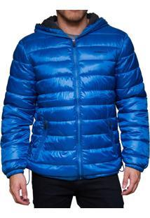 Jaqueta Inverno Kevingston Philadelphia Impermeavel Com Capuz Azul Metalico Com Bolsos Laterais Campera