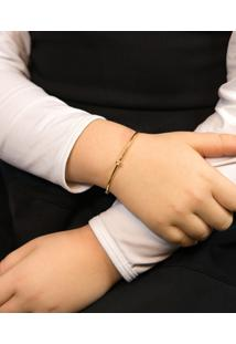 Pulseira Infantil De Ouro 18K Bracelete Algema Com Diamante.