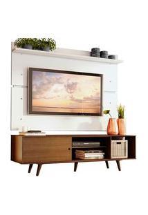 Rack Madesa Dubai E Painel Para Tv Até 65 Polegadas Com Pés Rustic/Branco 5Z9B Branco