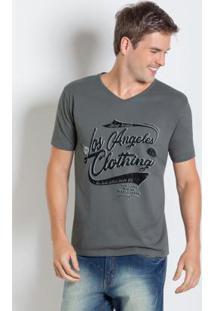 Camiseta Com Estampa Los Angeles Cinza