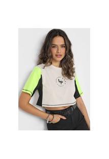 Camiseta Cropped Lança Perfume Logo Bege/Preta