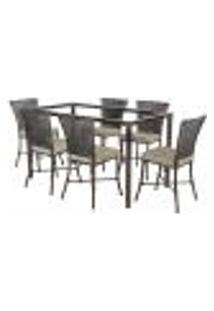 Jogo De Jantar 6 Cadeiras Turquia Tabaco A11 E 1 Mesa Retangular Sem Tampo Ideal Para Área Externa Coberta