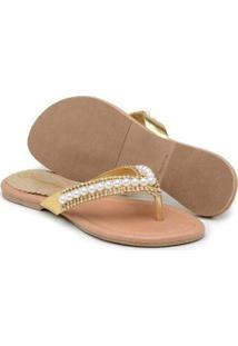 Rasteira Couro Gomes Shoes Detalhe Pérola Feminina - Feminino-Bege