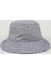 Chapéu Bucket Unissex Estampado Xadrez Branco