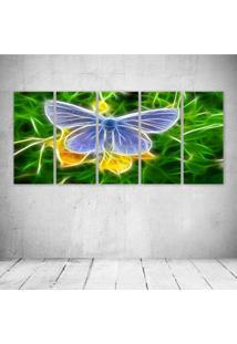 Quadro Decorativo - Butterfly Neon - Composto De 5 Quadros - Multicolorido - Dafiti
