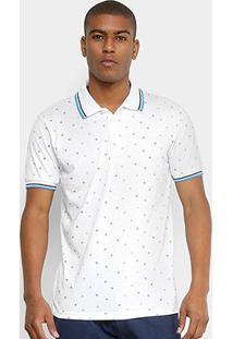 Camisa Polo Broken Rules Mini Print Geométrico Masculina - Masculino-Branco