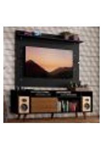 Rack Madesa Cancun Com Pés E Painel Para Tv Até 65 Polegadas - Rustic/Preto D8D8