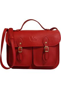 Bolsa Line Store Leather Satchel Pequena Pockets Couro Vermelho.