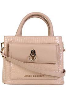 Bolsa Couro Jorge Bischoff Mini Bag Transversal Feminina - Feminino-Nude