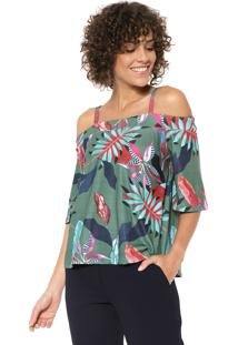 Blusa Ciganinha Mercatto Tropical Verde