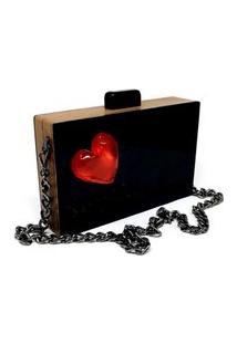 Bolsa Clutch Heart Black