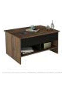Mesa De Centro Articulada Com Nichos Pop Up Mes 4003 Preto/Nogueira - Appunto