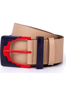 Cinto Cintura/Quadril Regular Fivela E Passante Bege