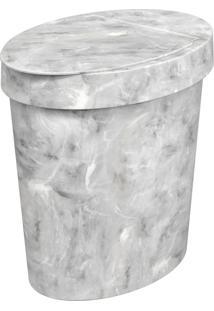 Lixeira Oval 5 Litros Glass Mármore Branco
