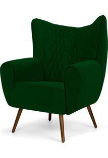 Poltrona Decorativa Para Sala De Estar Kora Pés Palito Tressê Veludo Liso B-303 B Verde - Lyam Decor