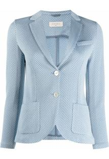 Circolo 1901 Blazer Com Listras E Abotoamento Simples - Azul