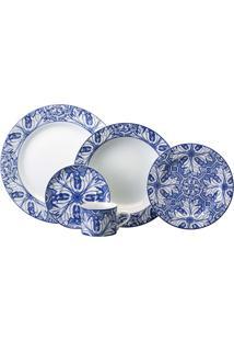 Aparelho De Jantar Azulejo 20 Peças - Schmidt - Branco / Azul