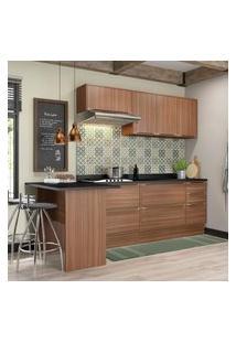 Cozinha Modulada Multimóveis 5455R Calábria 8 Peças Nogueira