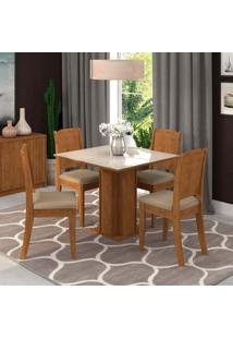 Conjunto De Mesa De Jantar Sophia Com Vidro E 4 Cadeiras Bárbara Suede Off White E Marfim