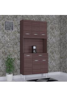 Cozinha Compacta 6 Portas 1 Gaveta Kit Cássia 6172 Capuccino - Poquema