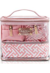 Kit Conjunto 4 Necessaires S Multiuso Jacki Design Linha Diamante Rosa
