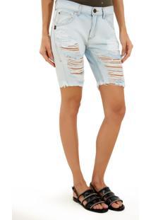 Bermuda John John Boy Egito Jeans Azul Feminina (Jeans Claro, 32)