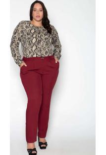 Calça Almaria Plus Size Leeban Viscose Lisa Roxo