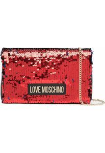 Love Moschino Bolsa Bicolor Com Paetês - Preto