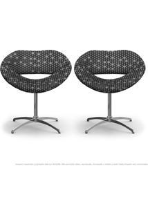 Kit 2 Cadeiras Beijo Colmeia Cinza E Preto Poltrona Decorativa Com Base Giratória