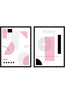 Quadro Oppen House 67X100Cm Formas Geométricas Liberté Rosa Moldura Preta Com Vidro