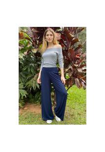 Calça Pantalona Amazonia Vital Malha Com Bolso Amazonia Vital Azul Marinho